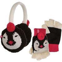 ANIMAL Flumserberg Kids' Flip Mitt and Earmuff Gift Set, BLACK