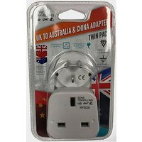 BOYZ TOYS 2pk Travel Adaptor - UK to Australia & China, WHITE