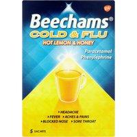 Beechams Cold & Flu Hot Lemon & Honey Hot Drink Powders 5s