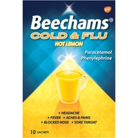 Beechams Cold and Flu Hot Lemon Hot Drink Powders 10s