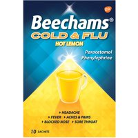 Beechams Cold & Flu Hot Lemon Hot Drink Powders 10s