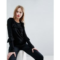ASOS Jumper with Frill and Pointelle Detail - Black