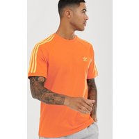 adidas Originals 3 stripe t-shirt in orange - Orange