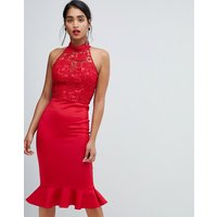 Chi Chi London high neck 2 in 1 lace bodycon dress in red
