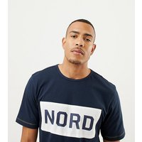 North 56.4 Tall 100% Cotton Crew Neck T-Shirt With Nord Print - Navy blue