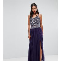 Lace & Beads Embellished Tulle Maxi Skirt - Deep purple