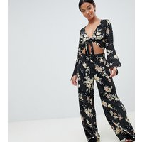 New Look Petite Floral Wide Leg Trouser - Black