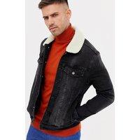 River Island muscle fit denim jacket in dark wash blue - Washed black