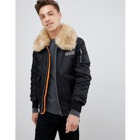 Brave Soul Ma2 With Faux Fur Collar And Rip Off Badge - Black