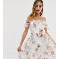 Chi Chi London Petite bardot overlay floral dress with frill in cream