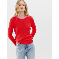 Calvin Klein Cable Knit Jumper With Contrast Hems