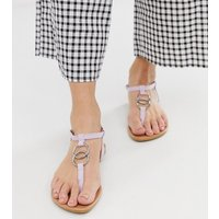 New Look ring detail strappy sandal in lilac - Lilac