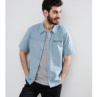 Nudie Jeans Co Svante short sleeve army shirt - Blue metal