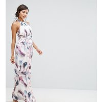 Little MistressLittle Mistress High Neck Maxi Dress in Print - Multi print