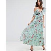 ASOSASOS Floral Maxi Tea Dress with Lace Up Detail - Multi