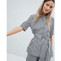 In Wear Polina Stripe Tie Front Blouse - Blk and wht stripe
