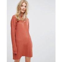 WeekdayWeekday High Neck Knitted Rib Dress - Orange