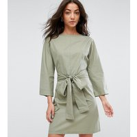ASOS TallASOS TALL Casual Tie Waist Mini Dress - Khaki