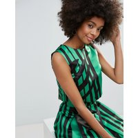 Horrockses Crop Top in Multi Print Co Ord - Green polka stripe