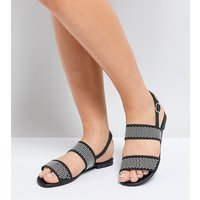 Truffle Collection Wide Fit Studded Flat Sandal - Black pu