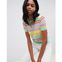 Camiseta de punto a rayas multicolor de Oasis