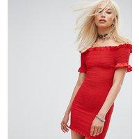 Milk ItMilk It Vintage Off Shoulder Shirred Bodycon Dress - Red