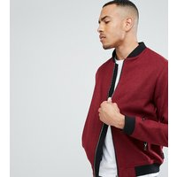 D Struct TALL Wool Bomber Jacket - Red