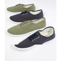 Truffle Collection 2 Pack Lace Up Plimsolls - Navy
