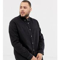 River Island Big & Tall slim stretch denim shirt in black wash - Black