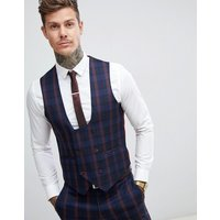Harry Brown navy and burgundy check slim fit suit waistcoat - Navy