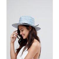 Sombrero fedora de paja con diseño geométrico y talla ajustable d eASOS