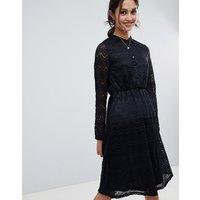 Yumi shirt dress in lace - Black