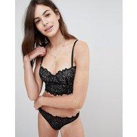 Asos Amelia Paisley Lace Thong - Black & Beige