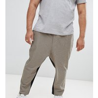 ASOS DESIGN Plus drop crotch tapered smart trouser in camel micro check with insert stripe - Camel