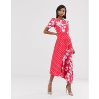 Closet London shift dress with fluted cap sleeve in polka floral splice print