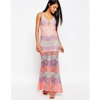 Love TriangleLove Triangle Multi Lace Plunge Maxi Dress - Pink multi