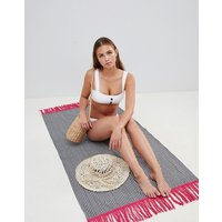 Asos Design Beach Blanket And Bag In Navy Stripe With Contrast Pink Tipping - Navy & Pink