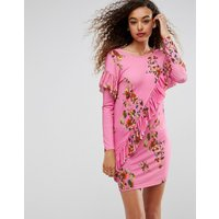 ASOSASOS Mini T-Shirt Dress With Frill And Low Back In Floral Print - Pink floral
