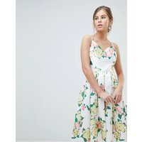 Chi Chi London Overscaled Floral Print Midi Prom Dress