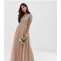 Maya Petite Bridesmaid v neck maxi tulle dress with tonal delicate sequins in taupe blush