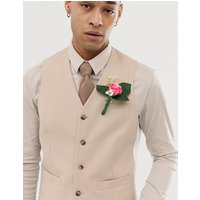ASOS DESIGN wedding slim suit waistcoat in camel - Camel