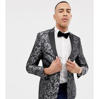 Jacamo Tall jaquard party blazer in grey - Grey