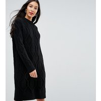 Y.A.S TallY.A.S Tall Chunky Cable Knit Jumper Dress - Black