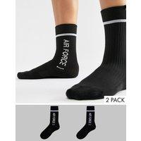 Pack de 2 pares de calcetines deportivos negros Air Max y Air Force de Nike