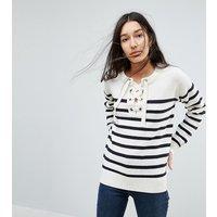 Brave Soul Tall Agatha Lace Up Jumper In Stripe - Cream/navy stripe