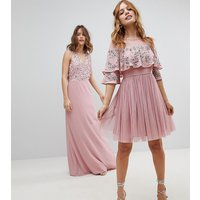 Maya Petite Sheer Detail Sequin Cape Overlay Detail Midi Dress - Vintage rose
