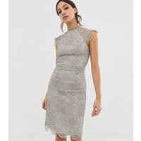 Chi Chi London Tall scallop lace pencil dress in grey