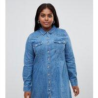 ASOS DESIGN Curve - Denim-Hemdkleid im Western Stil mit Saum-Details - Blau