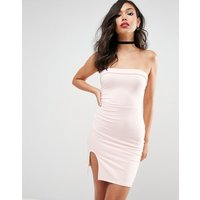 ASOSASOS Strapless Mini Bodycon Dress with Curved Splits - Nude