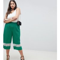 ASOS DESIGN Curve Pleated Plisse Culotte Trousers With Lace Insert - Green